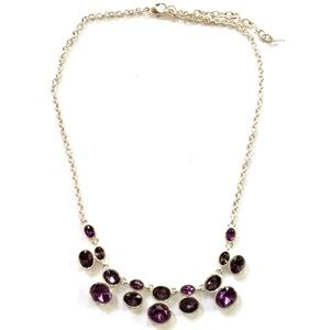 Purple Rhinestone Silver Necklace